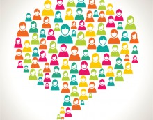 Diversity people in social media speech bubble concept illustration